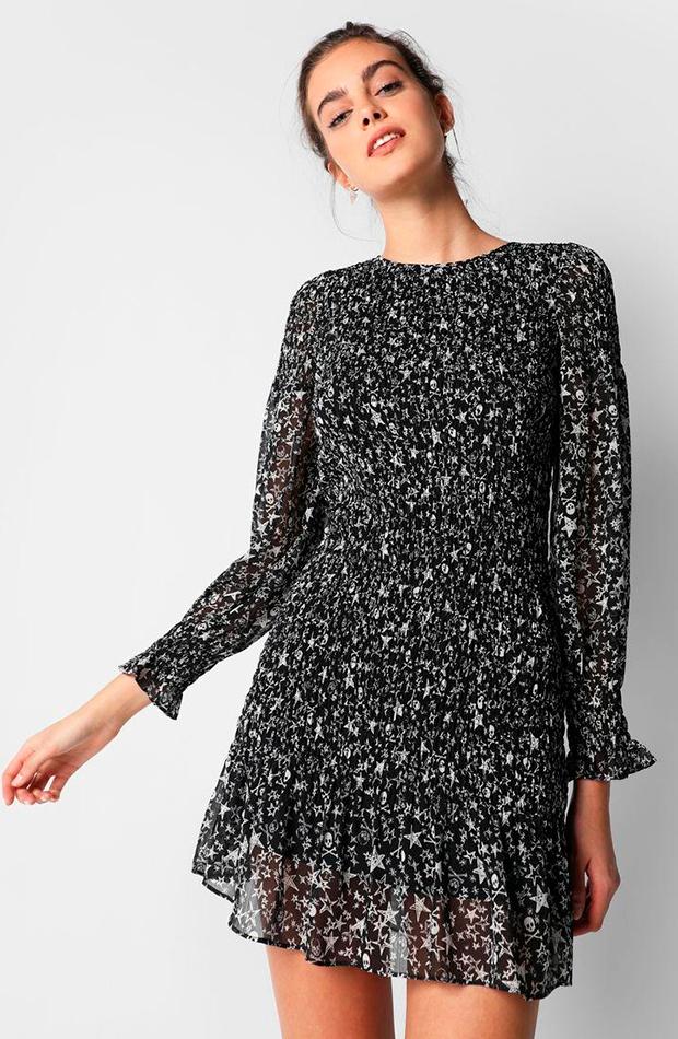 vestidos versátiles vestido mini estampado de manga larga scalpers