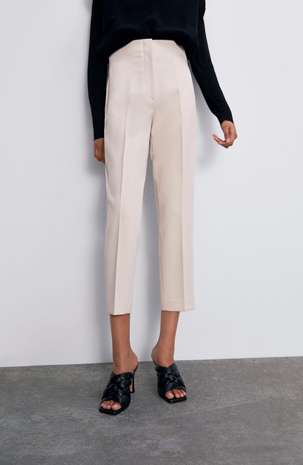 pantalones tiro alto blanco zara prendas cómodas