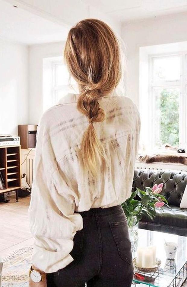 peinados fáciles para casa Mix de trenza y coleta