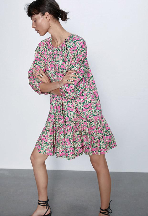 Vestido de flores de los special prices de Zara