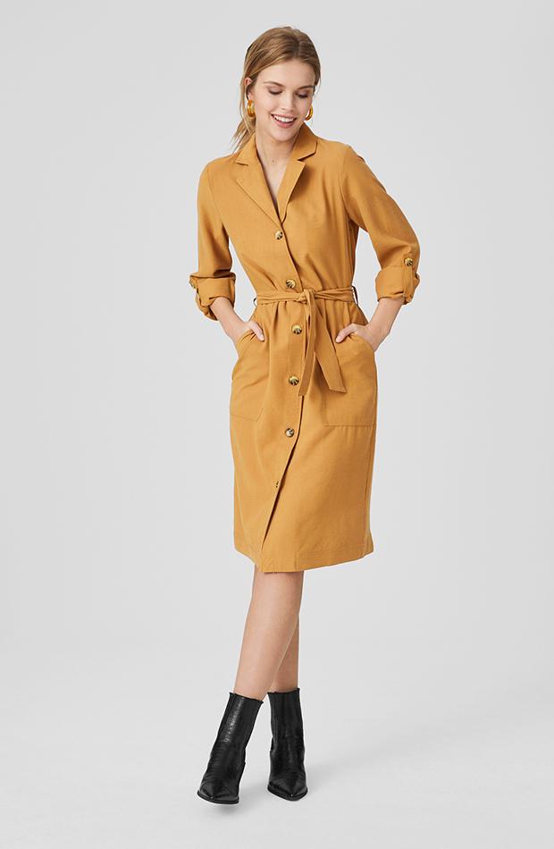 vestido camisero beige con cinturón c and a