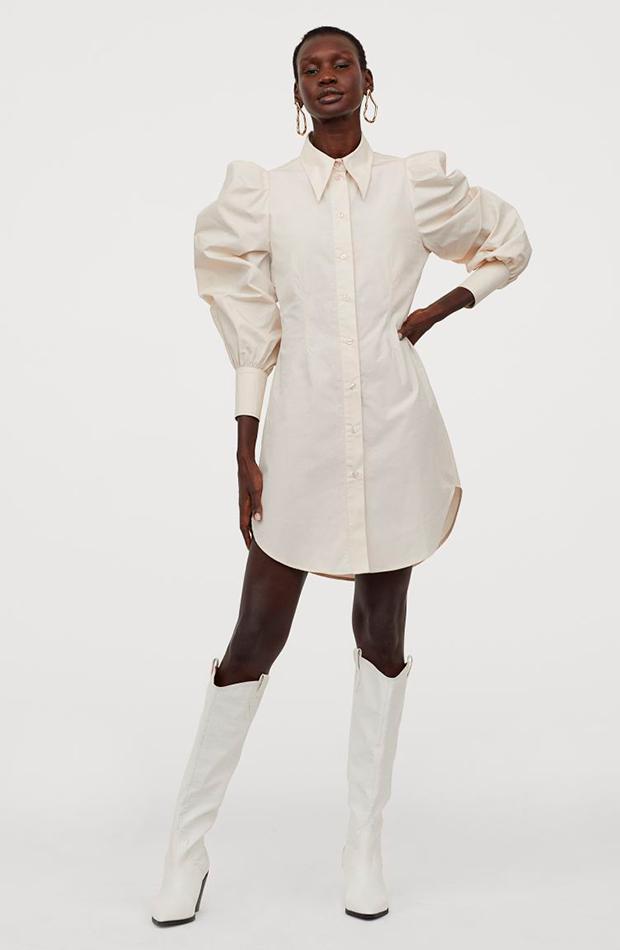vestido camisero beige mangas abullonadas hm