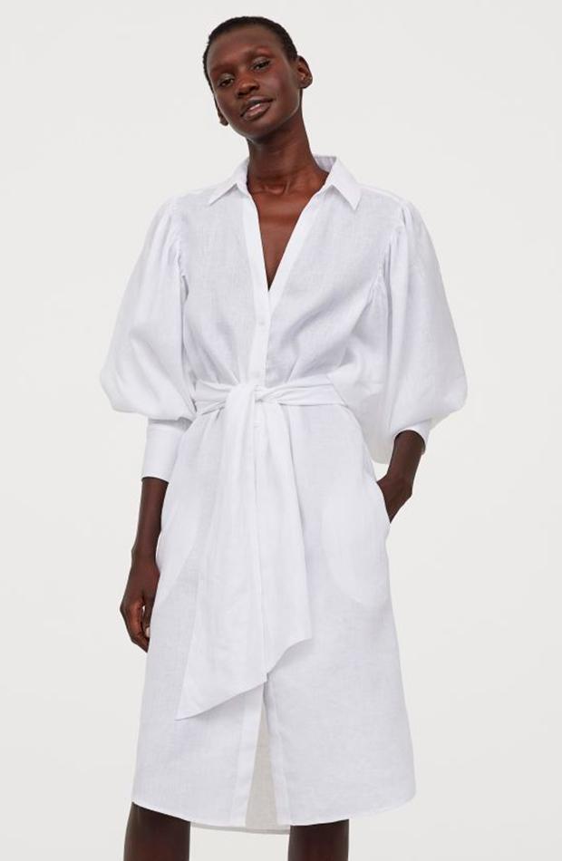 vestido camisero blanco con cinturón h-m