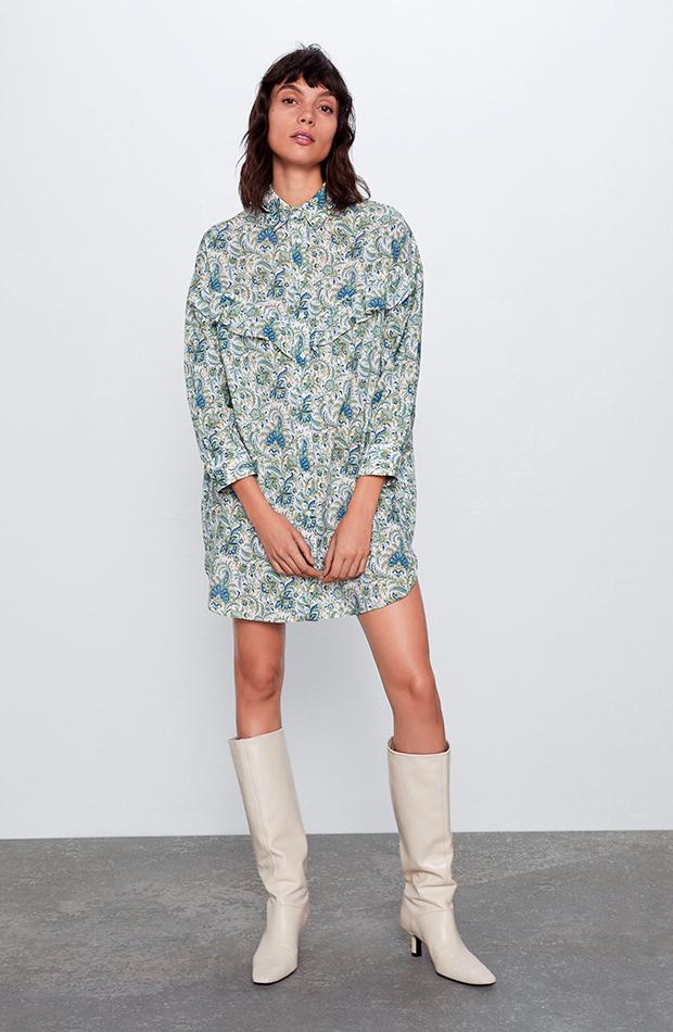 vestido camisero corto estampado de flores zara