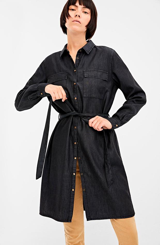 vestido camisero denim oscuro springfield