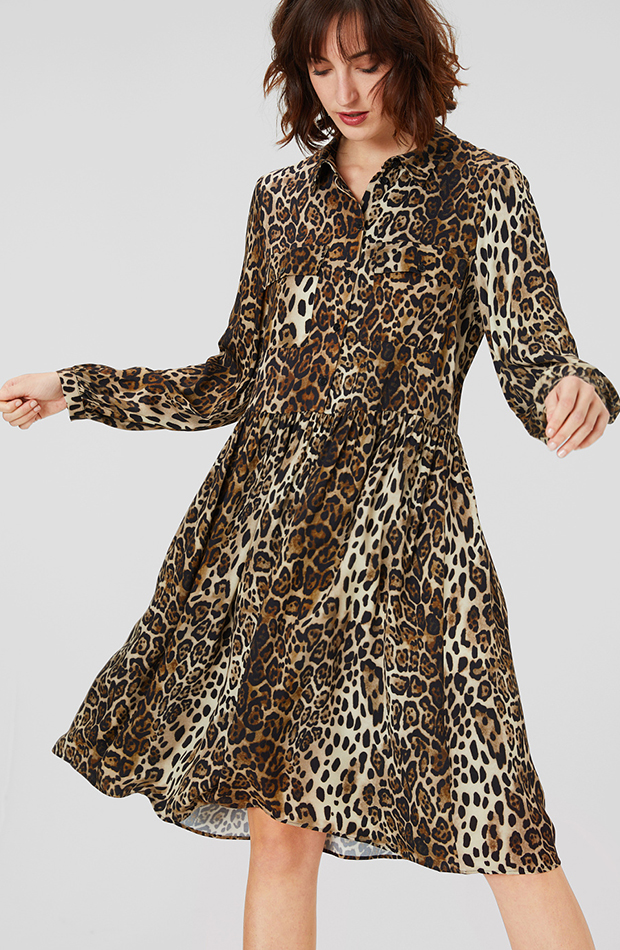 vestido camisero estampado animal print c and a