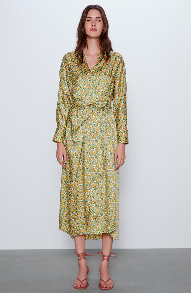 vestidos camiseros estampado de flores zara