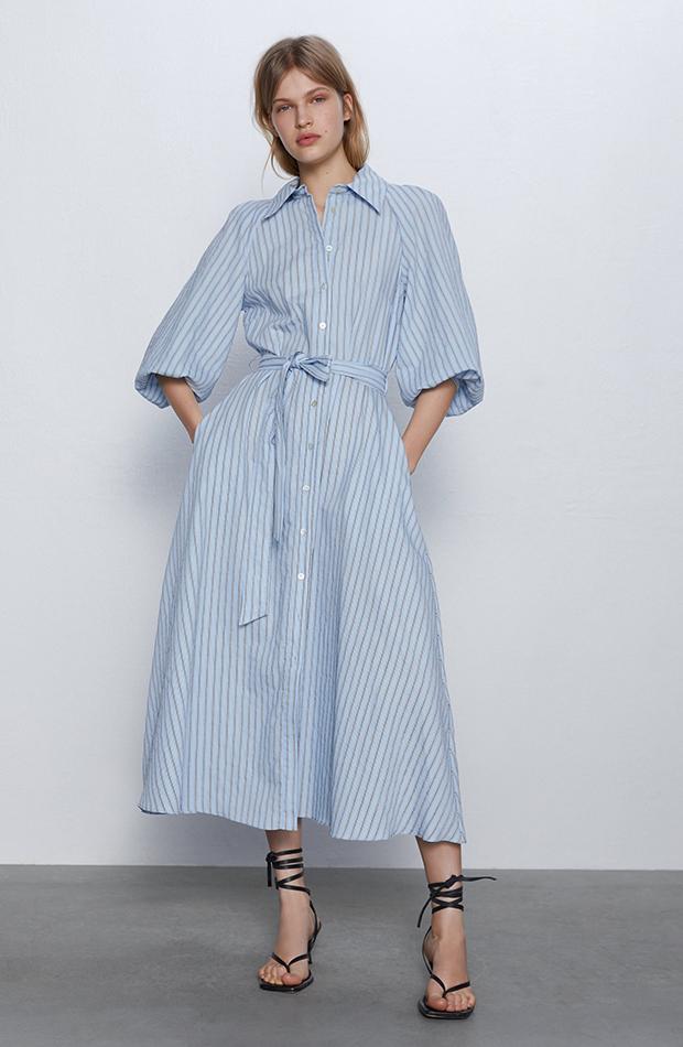 vestido camisero largo rayas azul zara