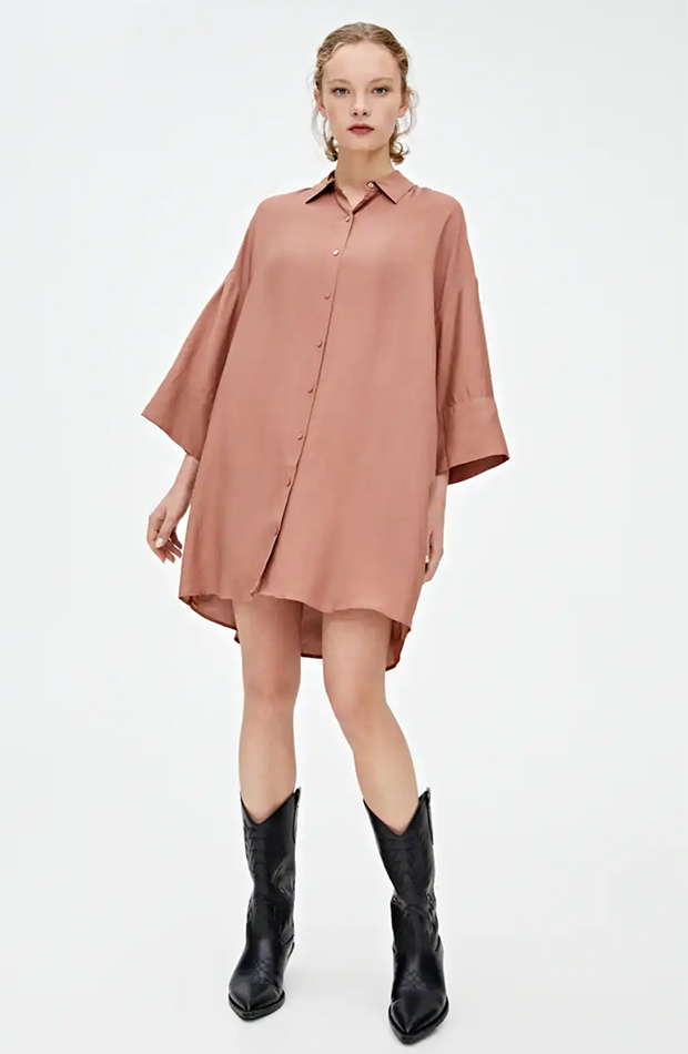 vestido camisero rosa empolvado pull and bear