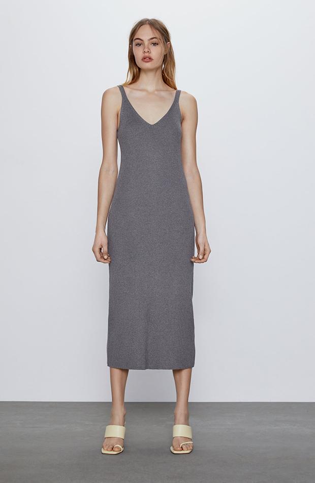 vestido de punto gris zara prendas cómodas