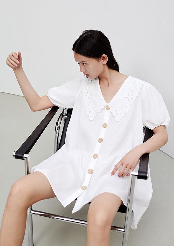 Vestido de Zara blanco con cuello bobo