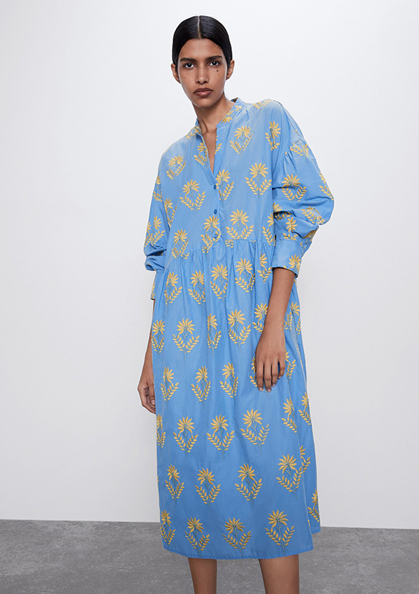 Vestido de Zara con flores bordadas