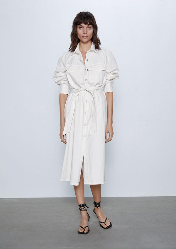 Vestido de Zara camisero en crudo