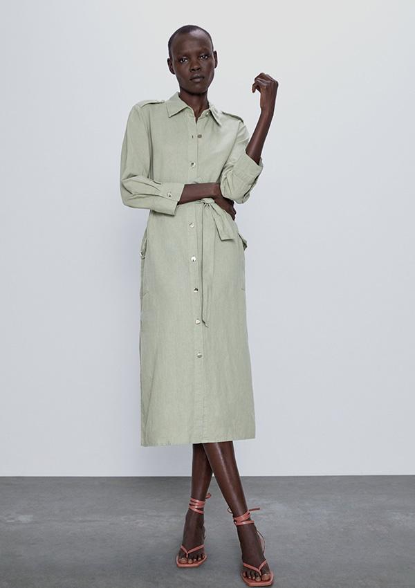 Vestido de Zara camisero en verde