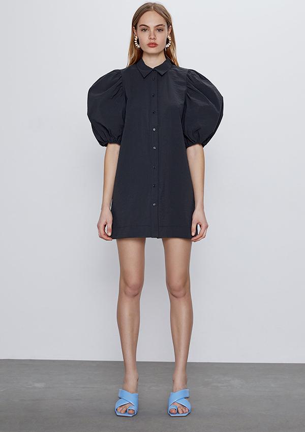 Vestido de Zara gris con mangas abullonadas