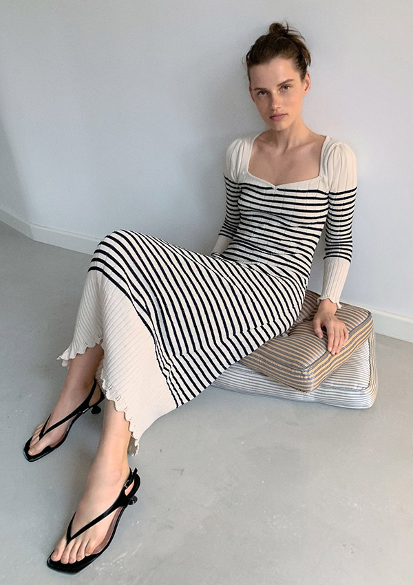 Vestido de Zara de punto con estampado de rayas
