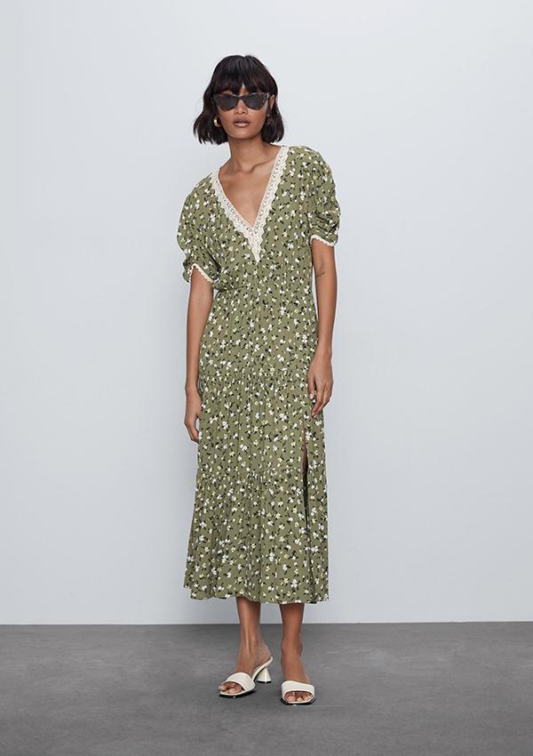 Vestido de Zara verde con flores