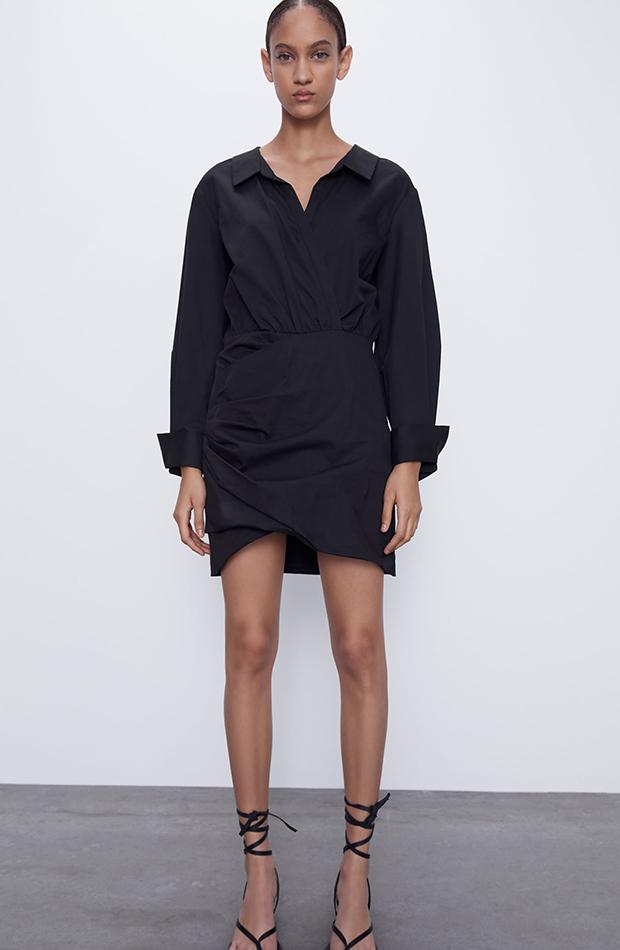 vestidos camiseros corto negro zara