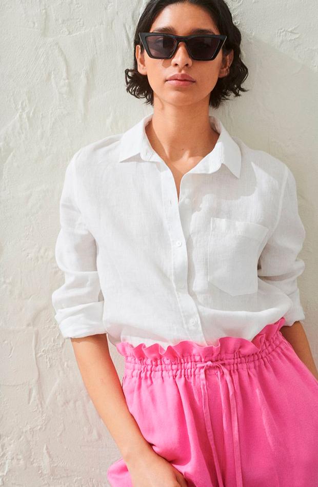 camisas para verano blanca de lino de H&M