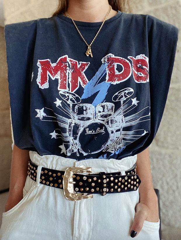 Camiseta con hombreras rocker