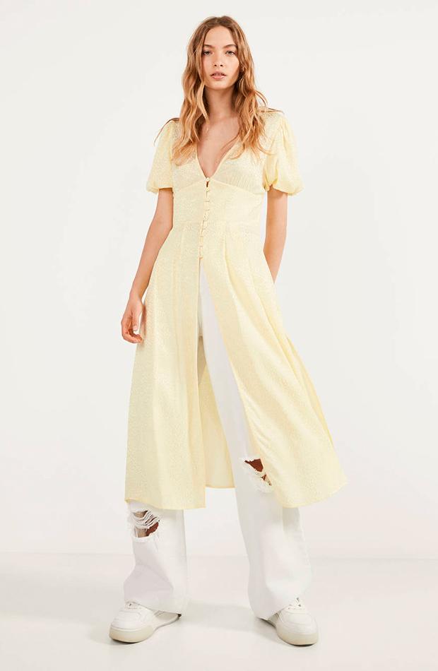 colores pastel Kimono amarillo de Bershka