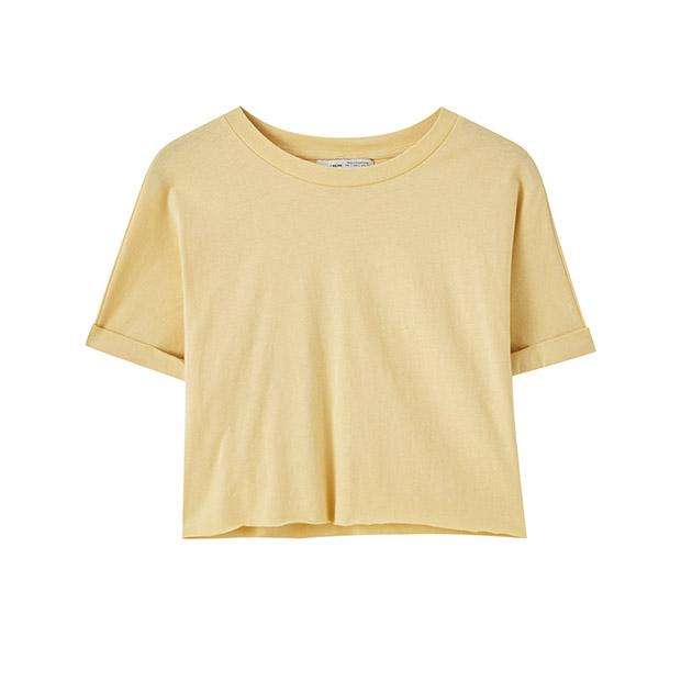 Camiseta amarilla cropped de Pull&Bear