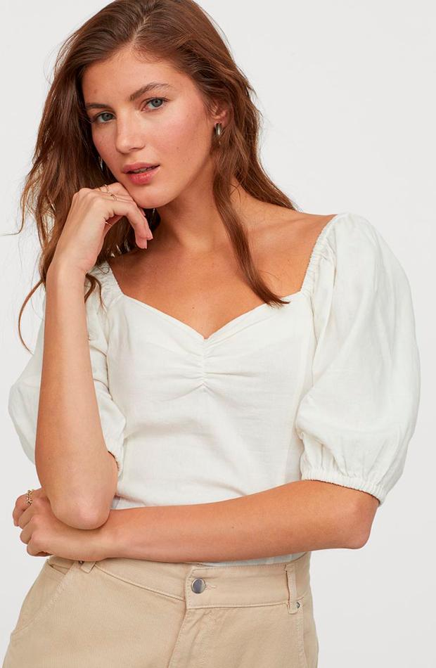 novedades de H&M Top de lino en color beige