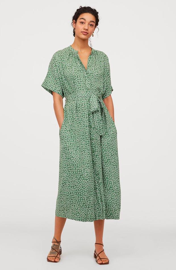 Vestido de flores camisero en color verde H&M