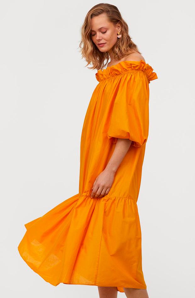 novedades de H&M Vestido naranja hombros descubiertos