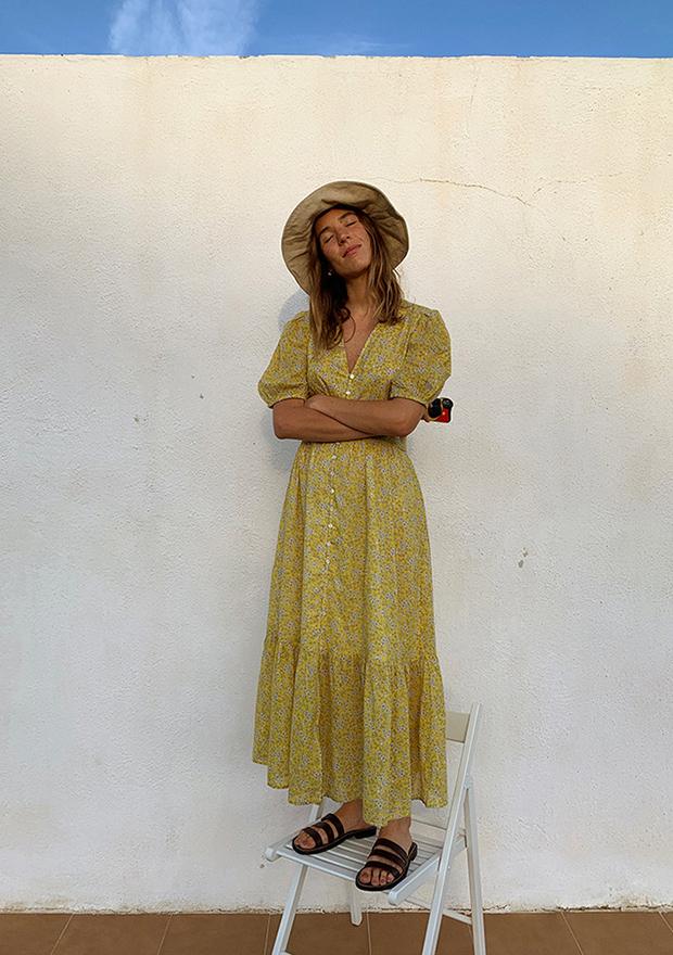 Vestido de algodón con flores de Mango