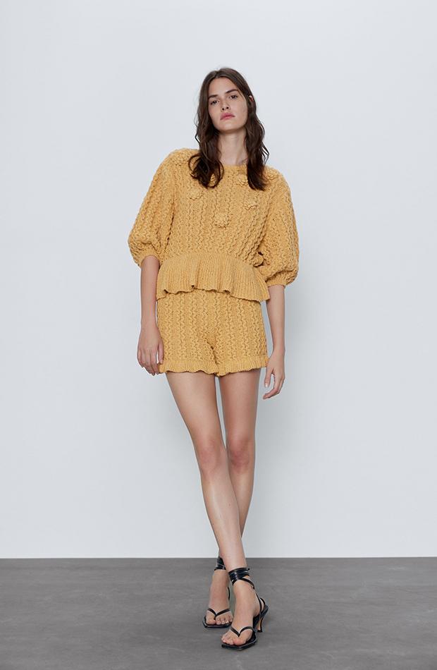 Short de punto amarillo de Zara