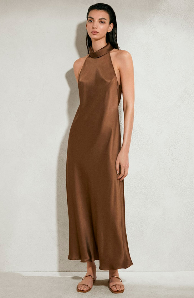 vestidos largos Vestido de satén marrón de Massimo Dutti
