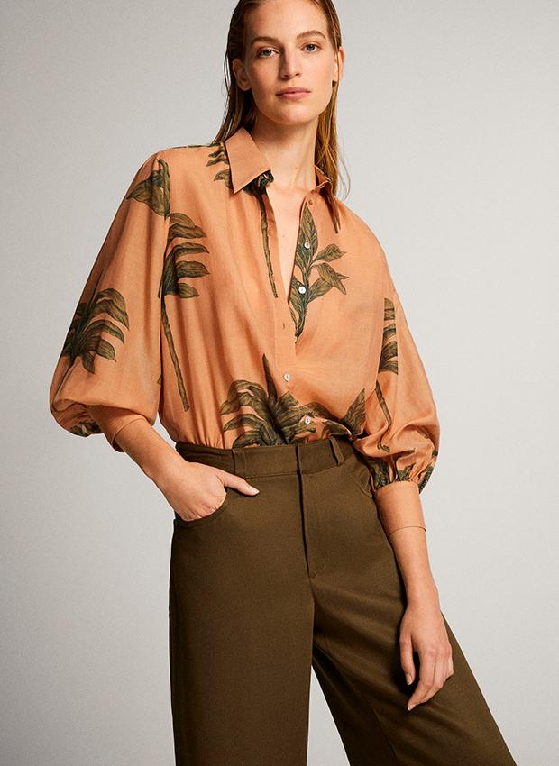Camisa con print de palmeras Rebajas Massimo Dutti