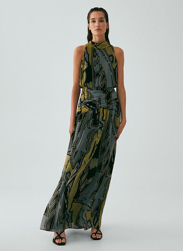 Vestido largo estampado Rebajas Massimo Dutti Verano 2020