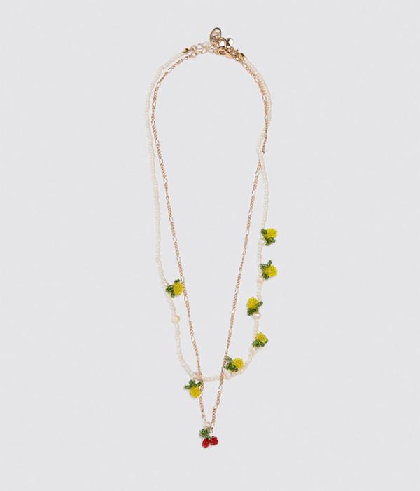 collares de bolitas de colores de zara