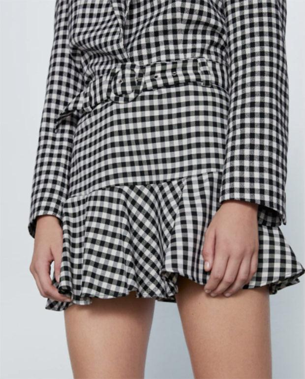 Falda de Zara con estampado de cuadros vichy
