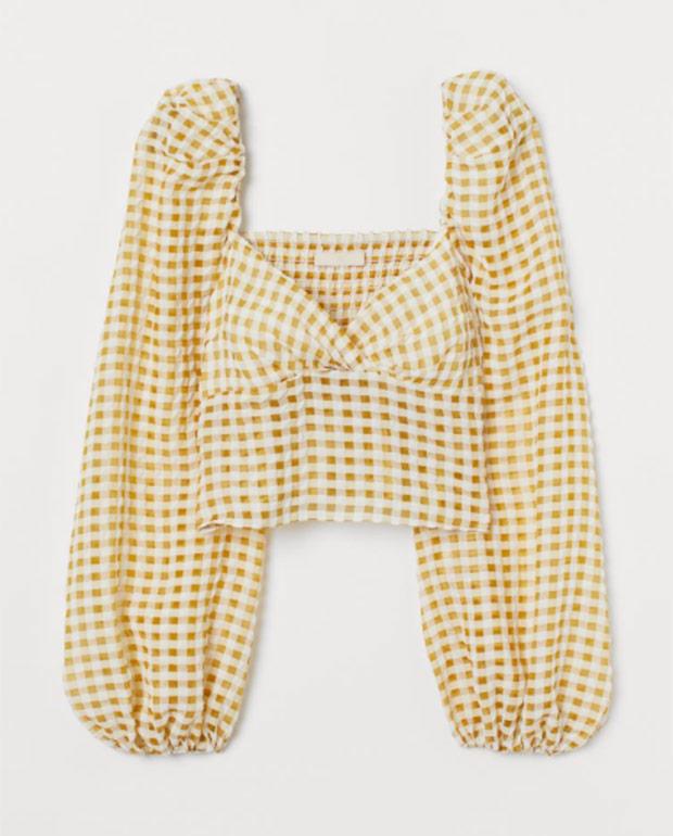 Top corto de H&M con estampado de cuadros vichy