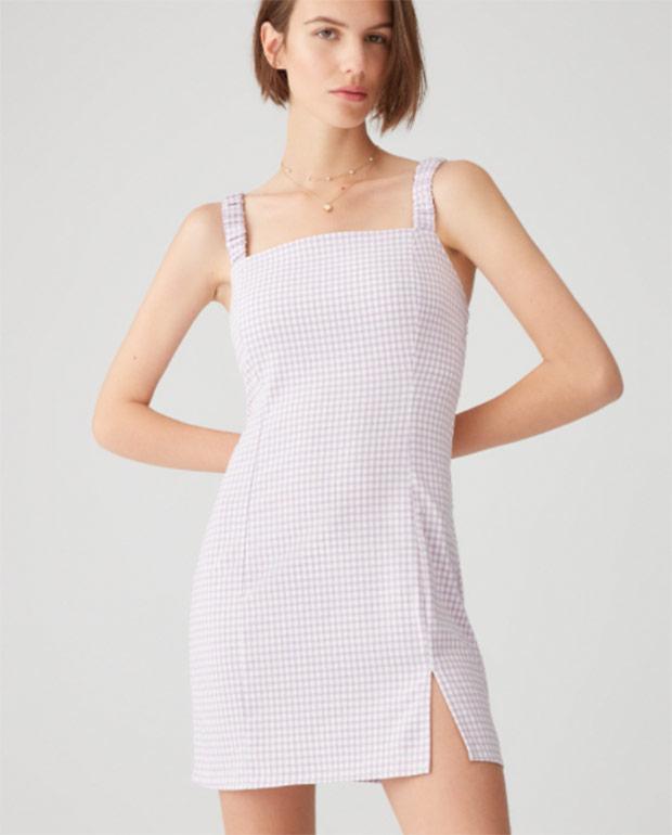Vestido lila de Pull&Bear con estampado de cuadros vichy