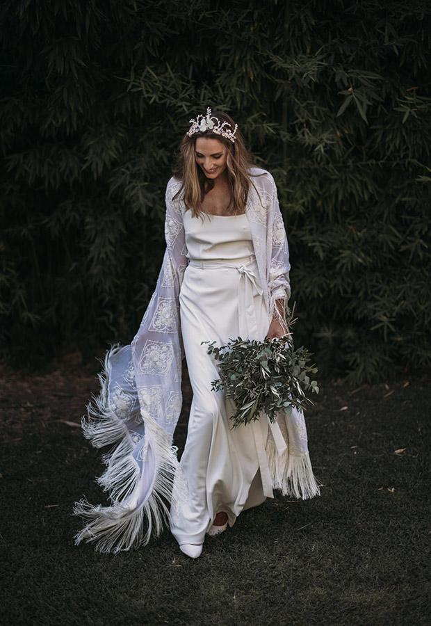 Confesiones de una boda con vestido con mantón