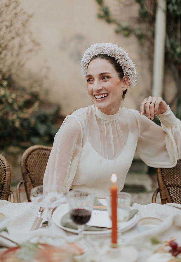Vestido de novia con dos capas de Confesiones de una boda