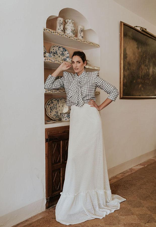 Vestido de novia con camisa de Confesiones de una boda