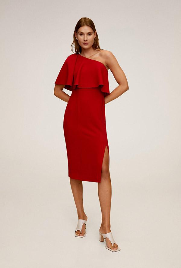 Vestido asimétrico con volante rojo de Mango