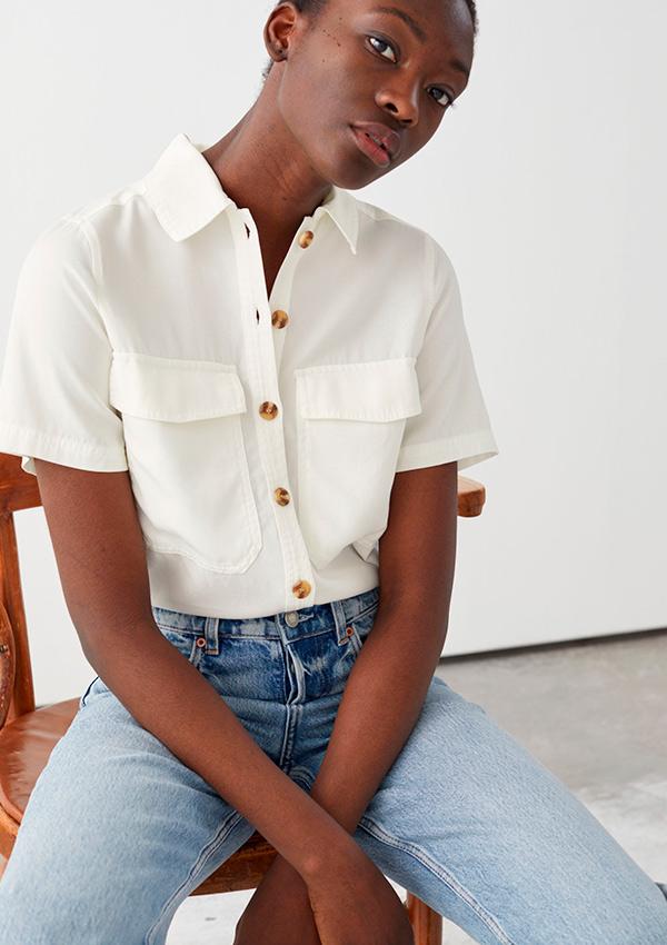 Camisa con manga corta blanca de las rebajas And Other Stories