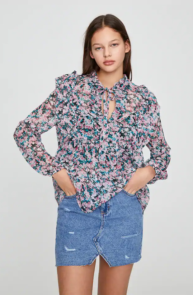 blusa con estampado de flores de rebajas