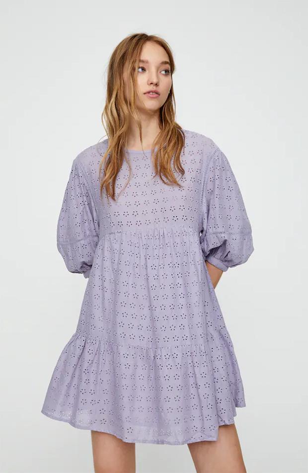 rebajas de pull & bear vestido color lila con bordados