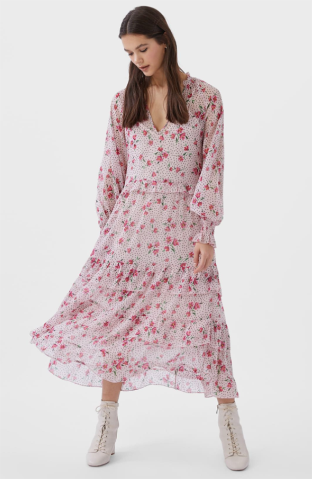 prendas inditex vestido midi rosa de stradivarius