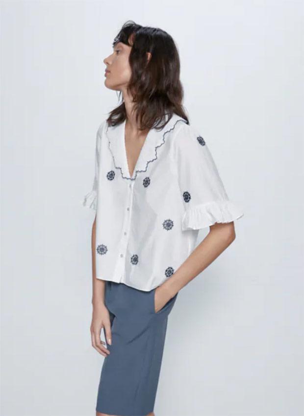 Blusa con bordados de las Rebajas Zara Verano 2020