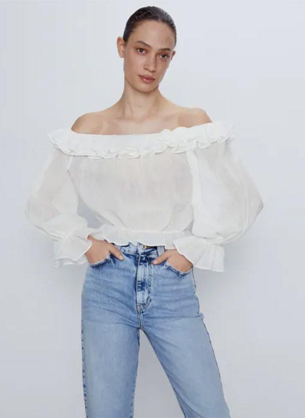 Camisa con volantes de las Rebajas Zara Verano 2020