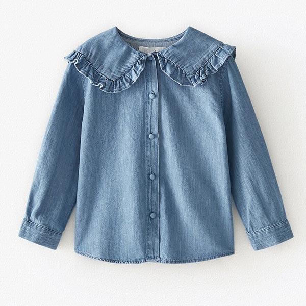 Camisa denim con cuello bobo de Zara Kids