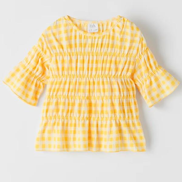 Blusa de cuadros vichy amarillos